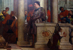 Detail of standing figure right (close), Paolo Veronese, Feast in the House of Levi
