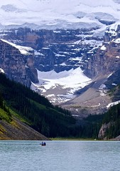 Canoe on Lake Louise (Cole Chase Photography) Tags: canada canon canoe glacier alberta banff lakelouise albertacanada banffnationalpark t3i icefieldsparkway