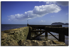 JETTY VIEW (vicki127.) Tags: sea beach jetty bluesky vicki llandudno northwales burrows fluffyclouds littleorme digitalcameraclub flickraward ilovemypics canon650d ringexcellence lightroom4 vicki127 adobephotoshopcs6