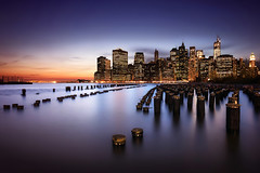 New York City (Geoffrey Gilson) Tags: new york city bridge blue brooklyn river lights pier long exposure cityscape manhattan hour manual posts dreamscape blending waterscape