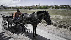 Some go by horse and carriage (Linus Wärn) Tags: horse turkey walking nationalpark hiking minaret backpacking cart adidas cappadocia göreme horseandcarriage