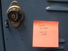 123 (srsldy) Tags: postit note locker 365 postitnote 3652013 lovethesoldierhatethewar