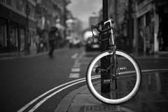 O What A Rim (Cris Rose) Tags: street leica blackandwhite london rain bike wheel zeiss 50mm cycling bokeh sharp fixie f2 rim bricklane racer planar m9 ltmcyclingmay