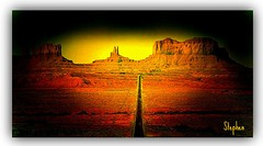 ~ Monument Valley a perspective~ (stephgum32807) Tags: arizona panorama utah monumentvalley textured specialeffects