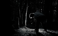 Keep on keeping on (Graham Irvine) Tags: portrait selfportrait night forest dark digging flash tie dressedup shovel shove collaredshirt dressshoes dresspants phlearnbattle