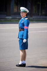 Pyongyang Traffic Girl (Joseph A Ferris III) Tags: blue cute sexy uniform northkorea pyongyang trafficgirl