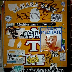 learn to meditate (changoblanco) Tags: life nyc eastvillage newyork flyer meditate chaos stickers tags busy ev gothamist