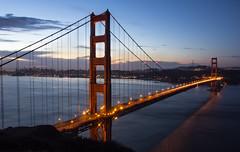 Good morning, San Francisco (DFiveRed) Tags: ocean sf city longexposure bridge usa water colors clouds america sunrise lights suspension bokeh cable hike goldengatebridge goldengate marinheadlands batteryspencer
