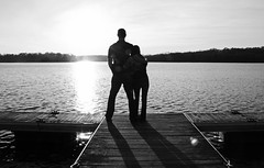 tall & small [: (erinwilt) Tags: park autumn trees winter wedding sunset red lake cute green fall love nature water beautiful smile grass kids forest docks hair children photography engagement amazing woods kiss couple pennsylvania redhead pa nautical inspire sunspot redheads sunflare pinchotpark giffordpinchotstatepark