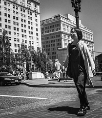 The Sightseer (TMimages PDX) Tags: iphoneography photography image photo photograph streetscene fineartphotography geotagged people urban city street streetphotography portland pacificnorthwest sidewalk pedestrians buildings avenue road blackandwhite monochrome vignette