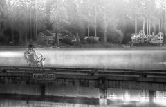 A Man And His Word (jeanmarie (been working lots of overtime)) Tags: jeanmarieshelton jeanmarie bw blackandwhite morning fog mist dock landscape light lake water waterscape reflections man person reading book prayer meditation outdoors