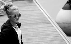 Cute girl on the quay 1 (patrick_milan) Tags: noiretblanc blackandwhite noir blanc monochrome nb bw black white street rue people personne gens streetview fminin femal femme woman women girl fille belle beautiful portrait face candide