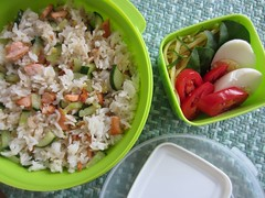 Bento #430 (Sandwood.) Tags: bento lunch lunchbox cooking food meal rice friedrice vegetables egg salmon cucumber