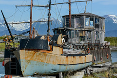 a three story fixer upper (kallen photography) Tags: alaska homer homerspit boat woodenboat graveyard woodenboatgraveyard threestory houseboat summer water mountain
