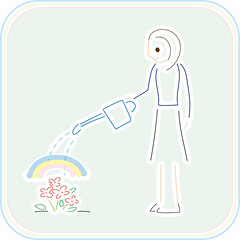 watering (unikto) Tags: water watering flower summer autumn red green blue woman lady girl rainbow smile grow
