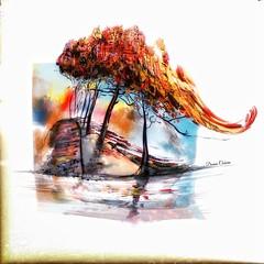 """Swept Away"" (donnacoburn1) Tags: colourful colours seasonal season fall nature safe public ipadpro ipadart apple app drawing original creative digital digitalart painting mobile art"