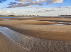 Sand and Skyline (Maggie's Camera) Tags: sand skyline liverpoolskyline lowtide ebbtide merseytide estuary water sea river saltwater beach merseyside september2016 landscape outdoors autumn sunshine wind