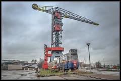 25-02-2014, Amsterdam NDSM, Trammeland 496 + 319 (Koen langs de baan) Tags: ndsm amsterdam trams trammeland kraan crane hotel urban