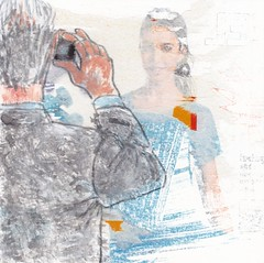 # 255 (11-09-2016) (h e r m a n) Tags: man vrouw woman foto fotograaf photographer photo camera telefoon telephone mobilephone mobile mobiel picture herman illustratie tekening bock oosterhout zwembad 10x10cm 3651tekenevent tegeltje drawing illustration karton carton cardboard