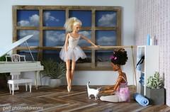 the dance room cat (photos4dreams) Tags: thesiamesecatp4d barbie mattel doll toy diorama photos4dreams p4d photos4dreamz barbies girl play fashion fashionistas outfit kleider mode puppenstube tabletopphotography aa beauties beautiful girls women ladies damen weiblich female dancers dancer ballet ballett tnzerin tnzerinnen ballerina