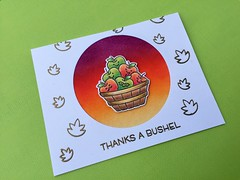 "Lawn Fawn ""Thanks a Bushel"" Fall Thank-You Card (shopleanne) Tags: lawn fawn thanks bushel thanksabushel lawnfawn stamp stamps stampedcard distress inks blended goldemboss fall thankyoucard apples"
