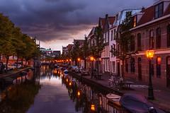 Dusk in Leiden (anton.litke) Tags: leiden netherlands travel reflections dusk streetlights clouds