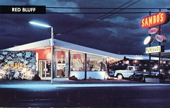 Sambo's Restaurant, Red Bluff, California (SwellMap) Tags: street night vintage dark advertising marquee evening design pc 60s neon fifties postcard suburbia style kitsch retro nostalgia chrome 1950s postcards americana 50s 1960s roadside googie populuxe sixties babyboomer consumer coldwar midcentury spaceage atomicage