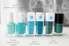 DSC_0015 (_windprincess) Tags: blue nagellack mint nailpolish dm essie swatches trkis vergleich catrice mintcandyapple shestylezone wheresmychauffeur jadeisnotmyname