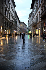(stargirl442) Tags: street people shop night florence europe perspective cobblestone busy