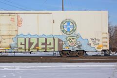 Size21 (The Braindead) Tags: street art car minnesota train bench photography graffiti 21 box painted tracks minneapolis twin rail size explore beyond bnsf the braindead cites size21