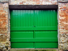 Green gate (Nada*) Tags: wood house brick green mobile gate phone telephone cell 4s iphone iphone4s