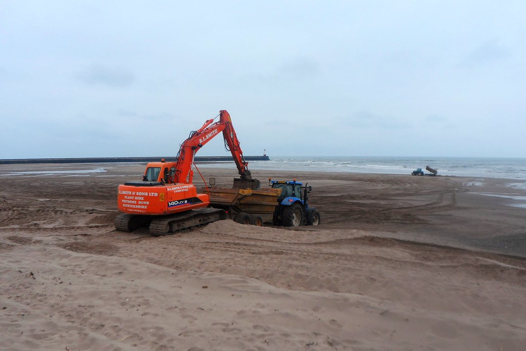 Shifting the sand at Spittal Beach in Berwick upon Tweed