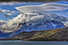 Flying saucer over Cuernos del Paine (Daniel Schwabe) Tags: chile cloud patagonia mountain lake storm lenticularcloud torresdelpainenationalpark cuernosdelpaine bestcapturesaoi