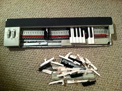 Nine Inch Nails Trent Reznor NIN 1995 Stage Used and Smashed Tour Keyboard (gregg_koenig) Tags: david outside bowie keyboard inch tour stage nin nine used nails reznor trent don prick 1995 smashed 1990s batts