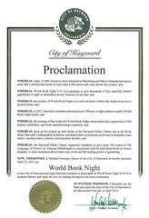 City of Hayward's World Book Night Proclamation - April 23, 2013 - Hayward, California (Hayward Public Library) Tags: california reading libraries books literacy thelanguageofflowers cityofhayward 94541 haywardpubliclibrary vanessadiffenbaugh worldbooknight2013
