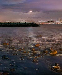 Bay Moon (Kevin MacLeod (unranged.com)) Tags: sanfrancisco california ca city longexposure bridge moon water northerncalifornia night landscape bay pier nikon cityscape wideangle nighttime moonrise shore goldengate baybridge bayarea fullframe d800 28300 mooreroad kevinmacleod nikond800 mooreroadpier d800e nikond800e unrangedcom