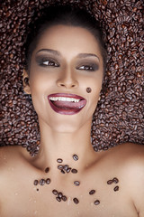 Coffee People (AnnuskA  - AnnA Theodora) Tags: portrait brown coffee colors beauty fun beans eyes makeup lips tones