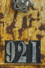 Mailbox Detail (Will Christensen) Tags: orange black macro texture metal mailbox silver numbers macromonday willchristensen nikonmicronikkor200mmf4