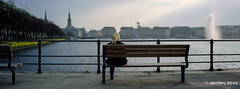 Hamburg, Girl and Fountain (kagamiyama) Tags: panorama film germany evening kodak hamburg hasselblad dmmerung alster portra xpan