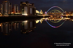 Olympic Bridges, Baltic Centre, Sage and the River Tyne (neandercol) Tags: bridge england reflection water sign june night river newcastle town sage gateshead tynebridge northumberland milleniumeye olympics swingbridge highlevelbridge tyneriver balticcentre