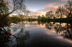 Hampstead Ponds (Scott Baldock) Tags: park trees light sunset house motion blur reflection london clouds reflections landscape twilight pond long low hill parliament heath hampstead ponds kenwood lightroom primrose nw3