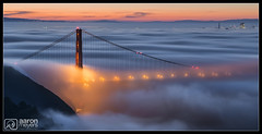 Peek-a-Boo! (Aaron M Photo) Tags: sanfrancisco california city bridge fog architecture sunrise golden nikon hawk marin hill towers landmark historic goldengatebridge goldengate headlands marinheadlands ggb hawkhill lowfog nikond800 aaronmeyersphotography