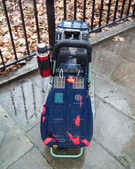Trolley Tardis Version (kenjonbro) Tags: uk england snow london rain trolley telephone overcast hydepark drwho tardis charge policebox charging redlights strolley kenjonbro mk6b fujifilmfinepixhs10 cyclehirescheme barclaysbikehire