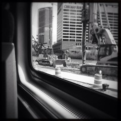Work Outside the Station (smaedli) Tags: railroad bw chicago iphone uploaded:by=flickrmobile flickriosapp:filter=nofilter