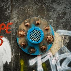 Blue vent (Brnzei) Tags: blue pipes squareformat round m42 junkyard manualfocus vologda cavemanart bucureti canoneos400d mir1v37mmf28