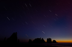 Star Trails at Shi Shi (AlexKrengel) Tags: ocean sea sky beach water night stars photography washington nationalpark nikon rocks nw pacific clear shore starry neahbay startrails d800 makah shishibeach pointofarches alexkrengel