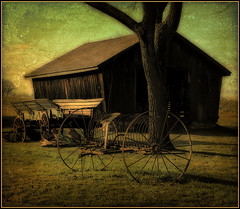 Corn Crib, Wagon, and Harrow (Patrick McConahay) Tags: pa buckscounty textured pse10