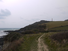 View Back to the Gribbin (Worthing Wanderer) Tags: grey coast spring cornwall cloudy path windy cliffs april dull polkerris southwestcoastpath