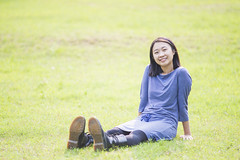My wife on grass () Tags: green girl grass asian hongkong sitting peace boots land lovely drmartens   portraid     nikond800  nikkoraised180mmf28