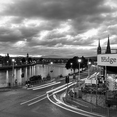 By the Bridge (Ginger Snaps Photography) Tags: sigma1835 night nightshot lighttrail bridge inverness highland scotland street streetlife bw mono